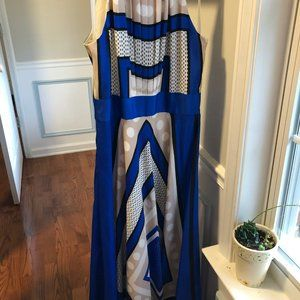 Eliza J Halter Blue and Tan Dress